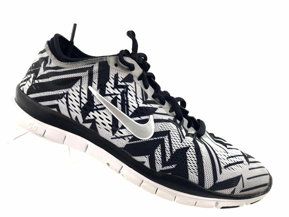 76547a9eaa5a Details about Nike Women s Free 5.0 TR Fit 4 PRT Training Shoe  Black Silver Whi 629832-017