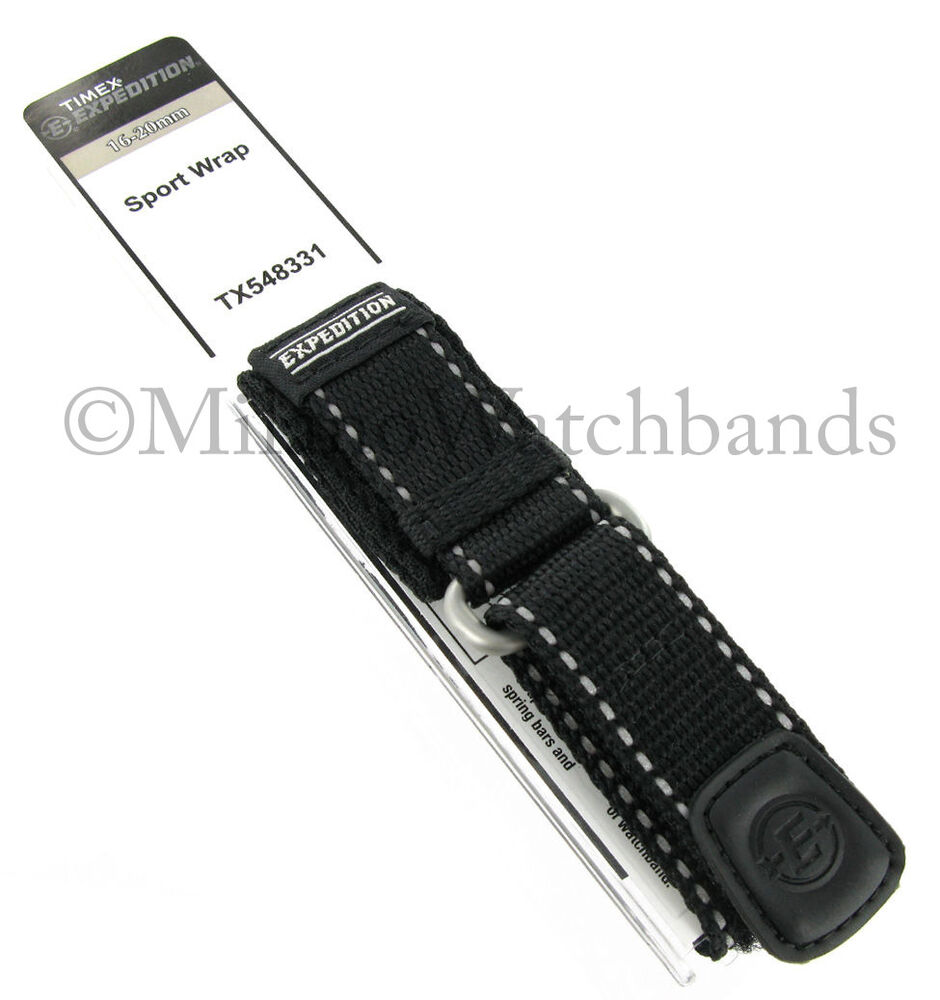 6b67abee7d7a 16-20mm Timex Expedition Sport Wrap Strap Nylon Black Watch Band 548331  79631042239