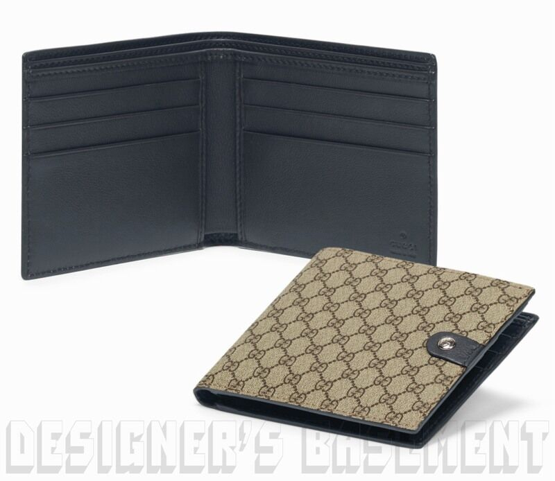 dfbe8af3343e Details about GUCCI Mens beige Micro GG SUPREME Canvas NAVY Leather TAB  bifold wallet NIB Auth