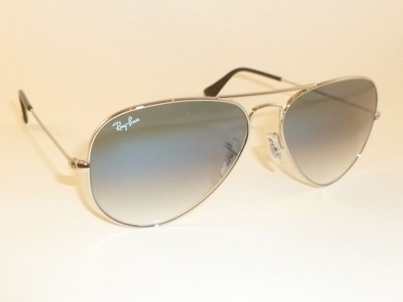 7dbf4425f2c Details about New RAY BAN Aviator Sunglasses Silver Frame RB 3025 003 3F  Gradient Blue 55mm