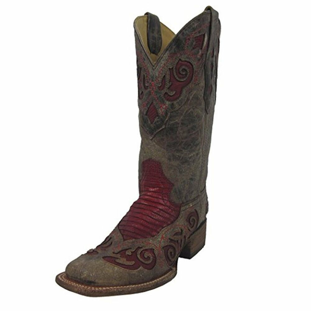 Women's Teju Lizard Inlay Square Toe Cowgirl Boots A2619
