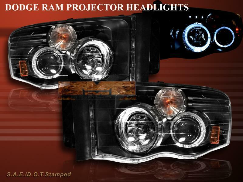 Details About 02 03 04 05 Dodge Ram 1500 Halo Led Projector Headlights G3 Black