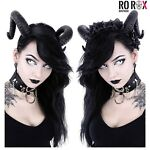Restyle Gothic Sinister Headband Roses Garland Nugoth Ram Satan Horns Headpiece