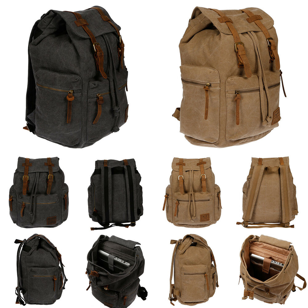 harolds herren damen rucksack canvas leder laptop fach uni arbeit schule schwarz ebay. Black Bedroom Furniture Sets. Home Design Ideas