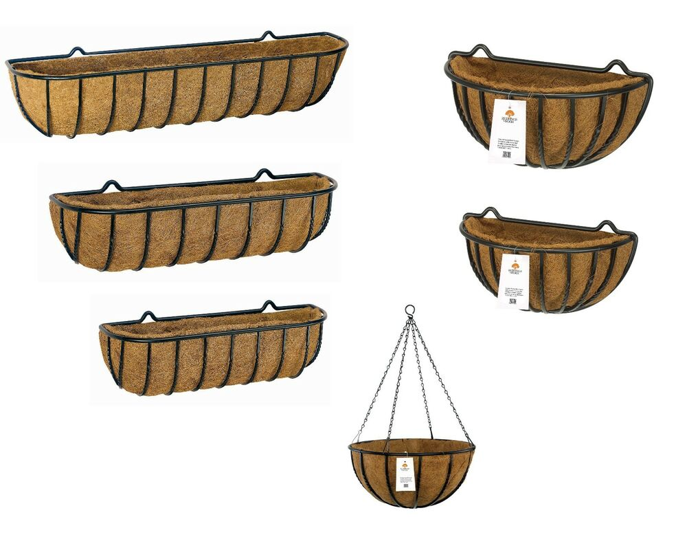 country forged garden wall troughs outdoor hanging baskets pots coco liner ebay. Black Bedroom Furniture Sets. Home Design Ideas