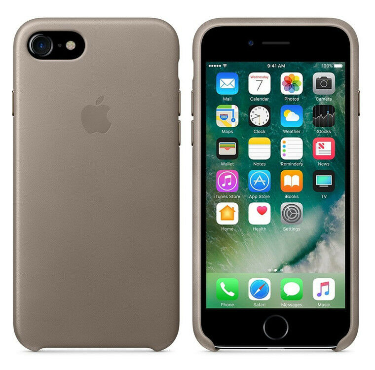 original apple case iphone 7 8 leder handy schutz h lle cover ovp taupe grau ebay. Black Bedroom Furniture Sets. Home Design Ideas