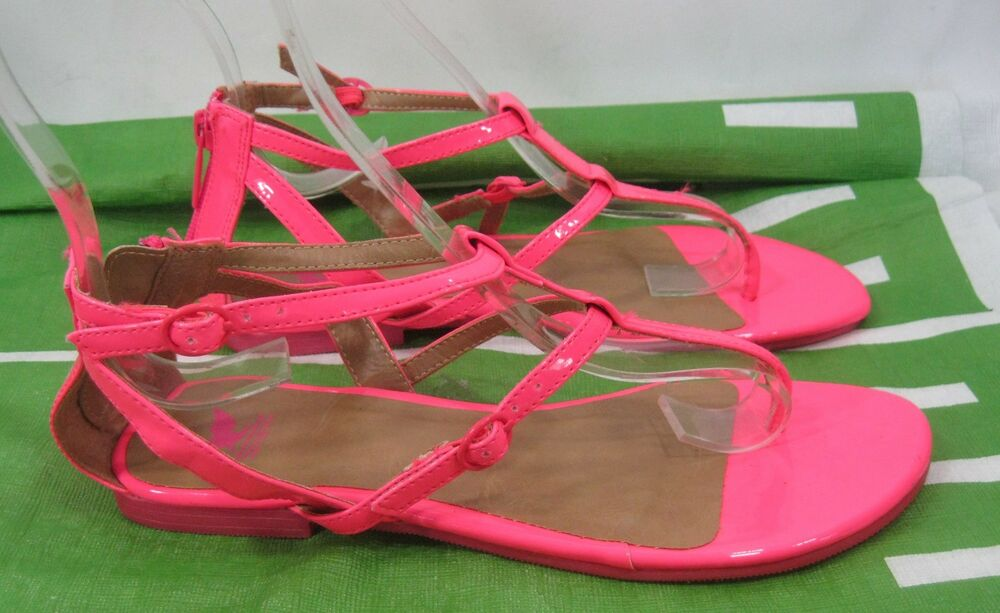 Details about Summer Neon Pink Flat Ankle Spars Sexy Gladiator Shoes Size 6