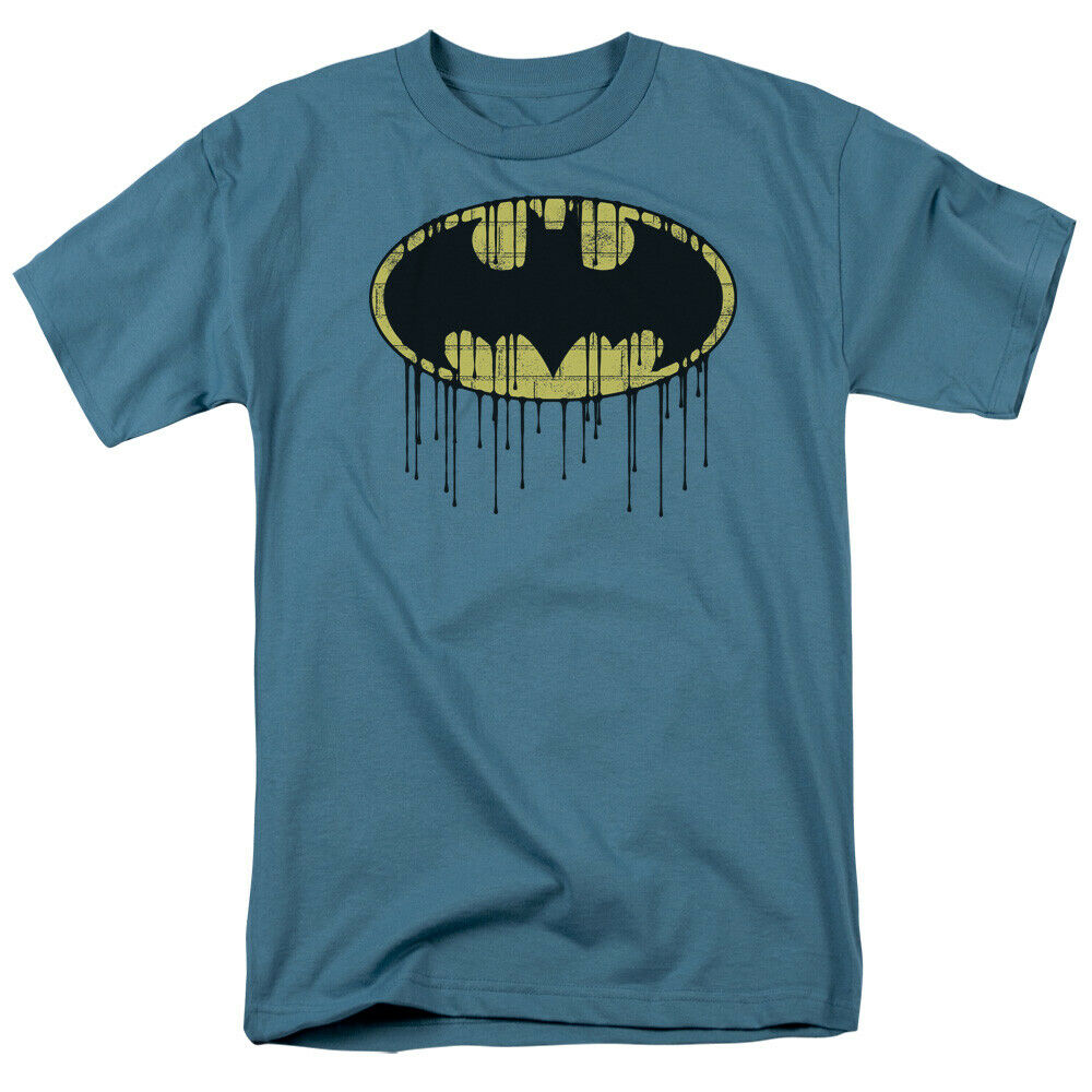 b949b03327bcd Details about Batman Dripping Wall Bat Logo DC Comics Licensed Adult T Shirt