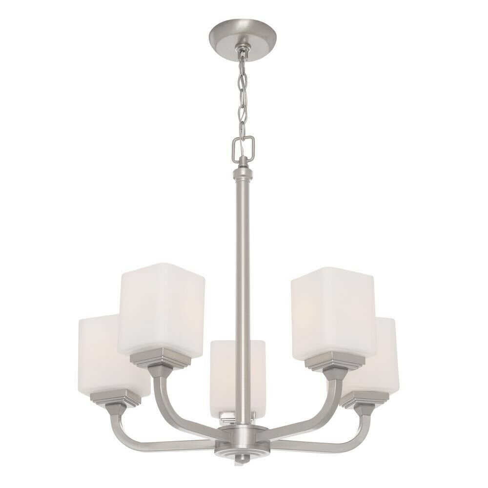 Details about hampton bay 5 light dimmable brushed nickel chandelier frosted glass fixtures
