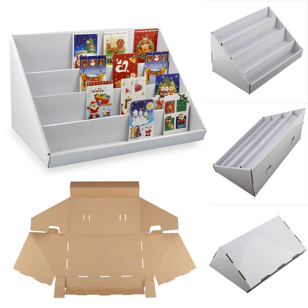 2 X 4 TIER WHITE COLLAPSIBLE CARDBOARD GREETING CARD