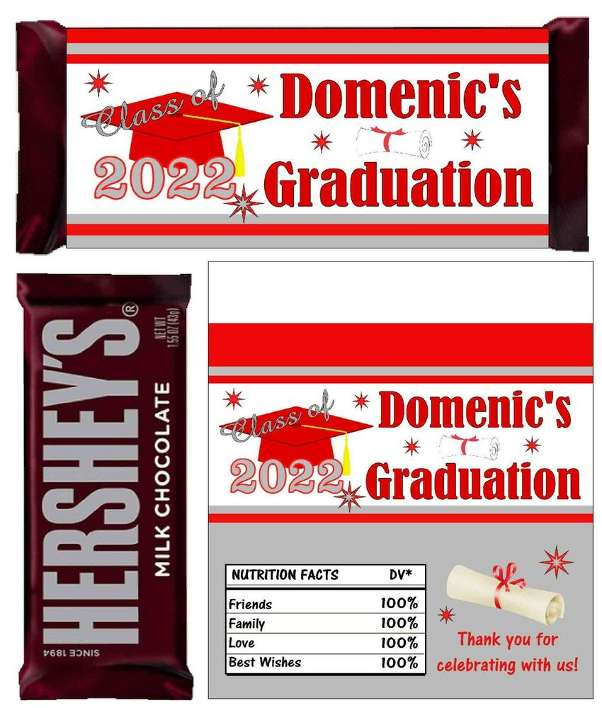 RED AND SILVER GRADUATION FAVORS CANDY BAR WRAPPERS HERSHEY BAR ...