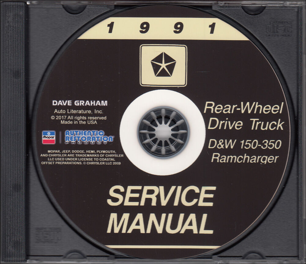 1991 Dodge Truck Shop Manual CD D150-D350 Pickup Ramcharger W150-W350 Gas  Diesel | eBay