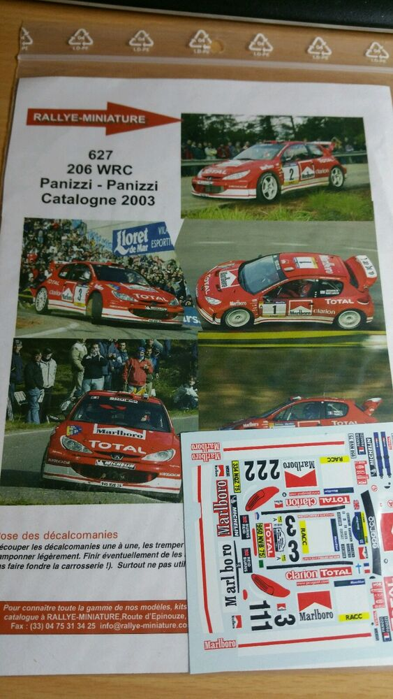 DECALS 1//24 REF 627 PEUGEOT 206 WRC GRONHOLM RALLYE ESPAGNE CATALOGNE 2003 RALLY