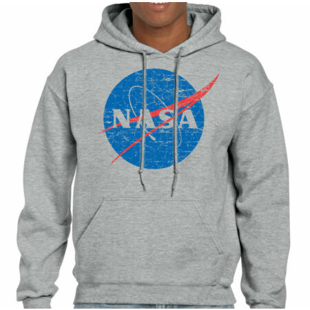 img-Distressed Nasa Logo - Mens Hoodie Nerd Sheldon Cooper Geek Space