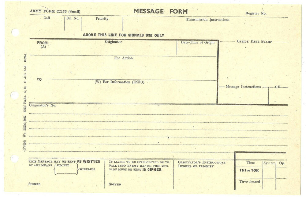 Army Form Message Form C Unused June   Ebay