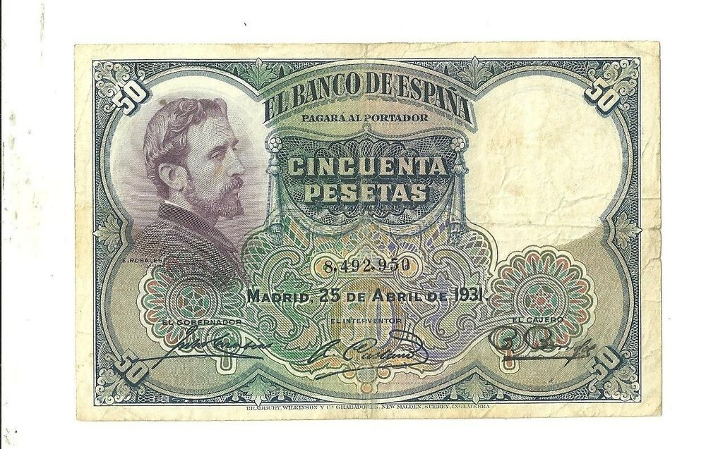 Details About 1931 Spain 50 Pesetas Currency Note Pick 82 Paper Money Cincuenta