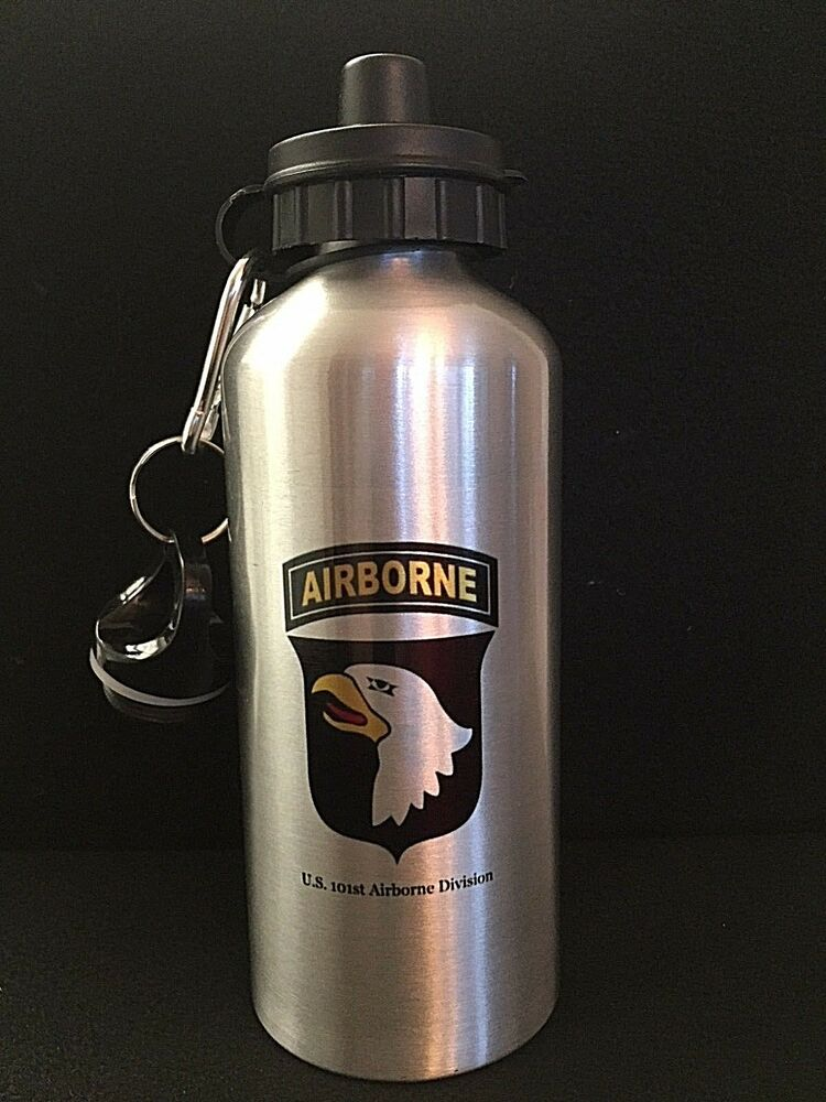 Us Ww2 101st Airborne Water Bottle Aluminum Silver Finish 20 Oz 600