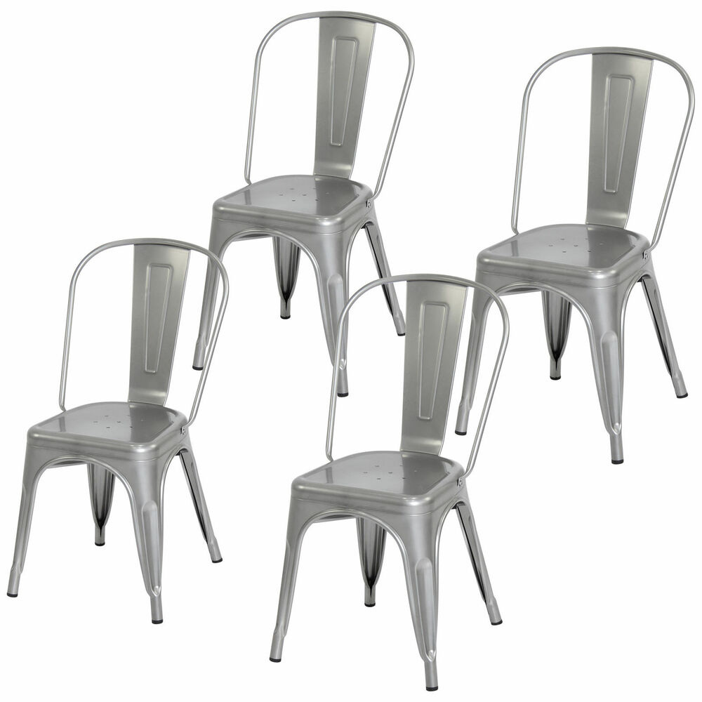 Bon Details About 4 Piece Heavy Duty Stacking Metal Industrial Kitchen Bar  Dining Room Chairs Set