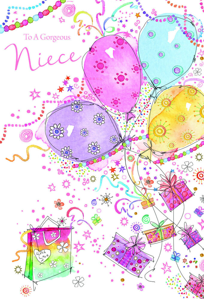 Details About STUNNING GLITTER COATED BALLOONS TO A GORGEOUS NIECE BIRTHDAY GREETING CARD