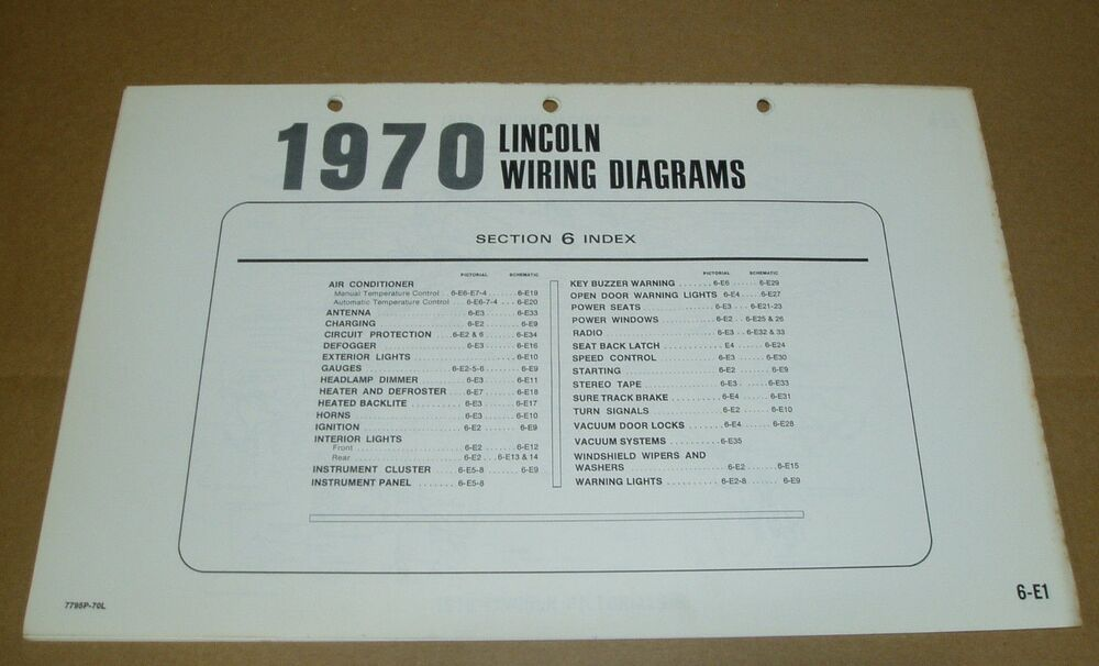 1970 lincoln continental electrical wiring diagram sheet service manual |  ebay
