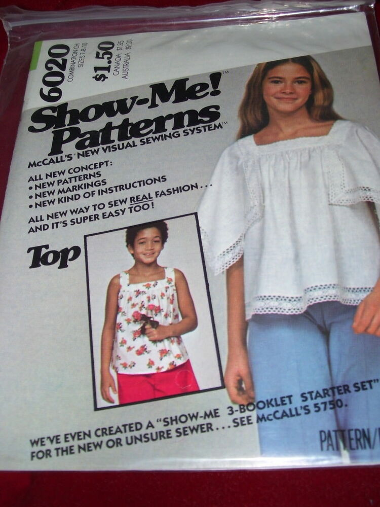 0b59d1158edb Details about UNCIRCULATED 1978 McCALL S  6020-GIRLS ~SHOW ME~ SQ. NECKLINE  TOP PATTERN 7-10FF