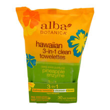 Hawaiian 3-in-1 Clean Towelettes - Pineapple Enzyme by Alba Botanica - 30 Pc