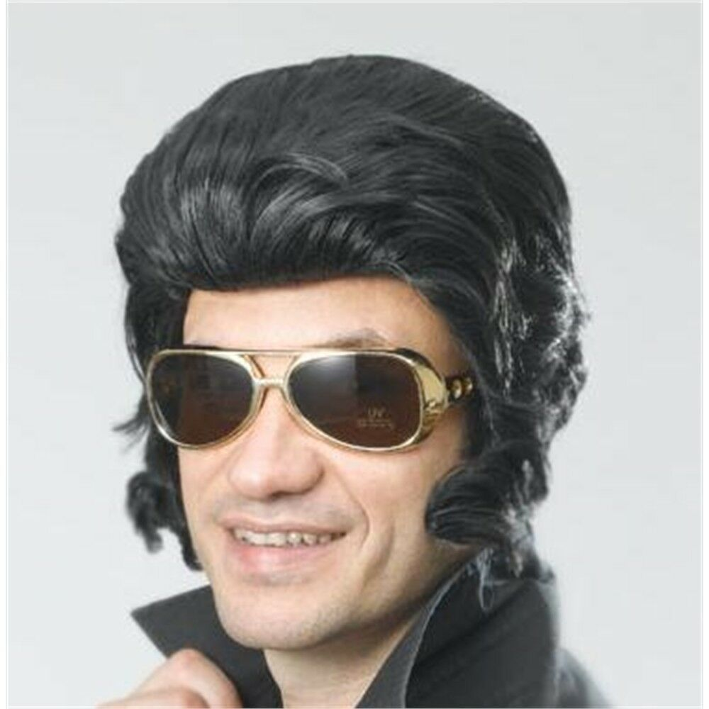 Details about Black Elvis Wig With Big Sideburns - Fancy Dress Rock 50s  Accessory King Star f0eb4909db1d