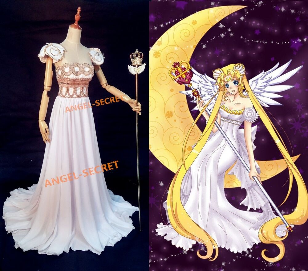 P155 Sailor Moon Cosplay Princess Gown Dress Costumes Scepter Wedding White Ebay