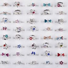 20pcs Adjustable Wholesale Mix Crystal Children Kids Silver Rings Tail Ring NT