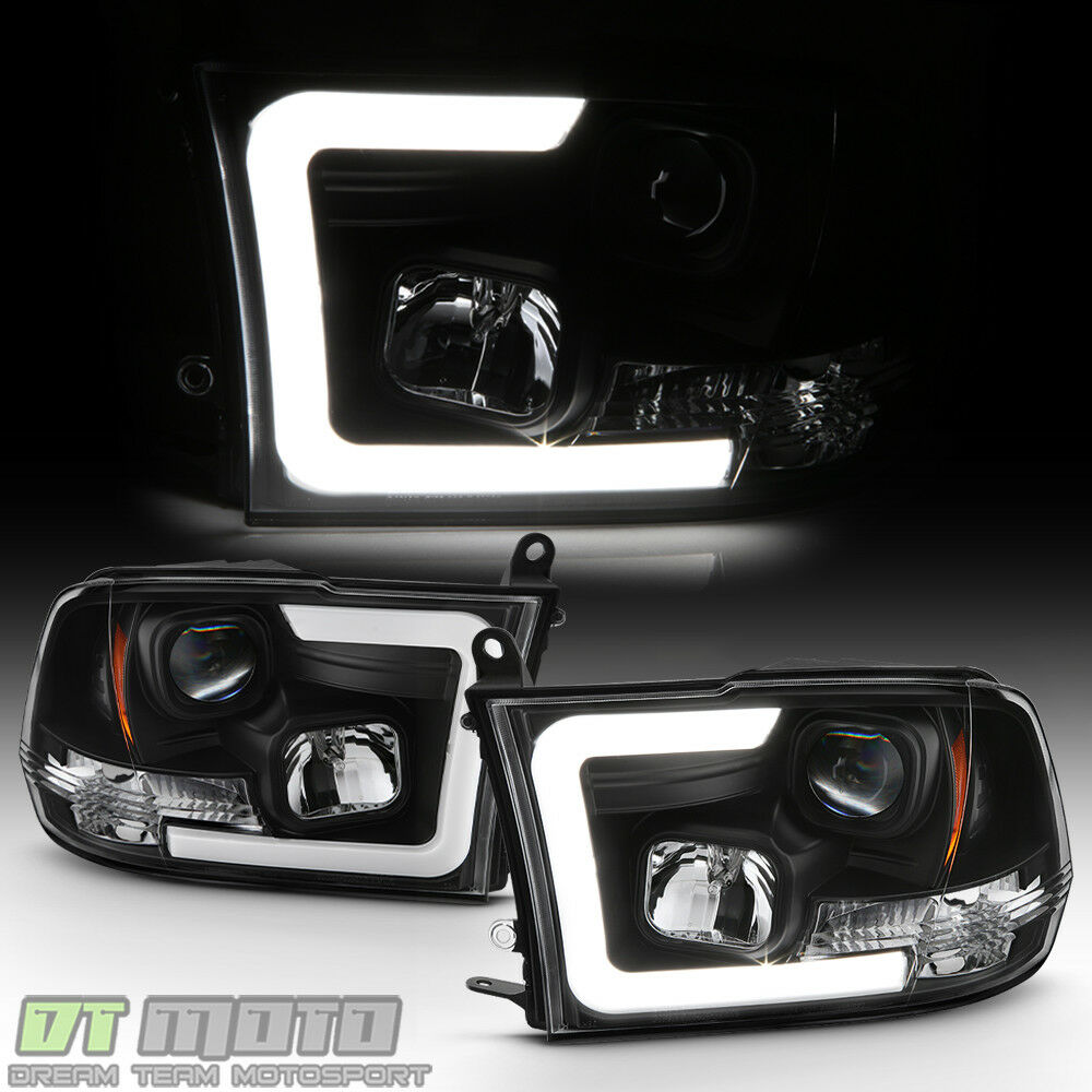 Details About Black 2009 2018 Dodge Ram 1500 2500 3500 Led Projector Headlights Headlamps