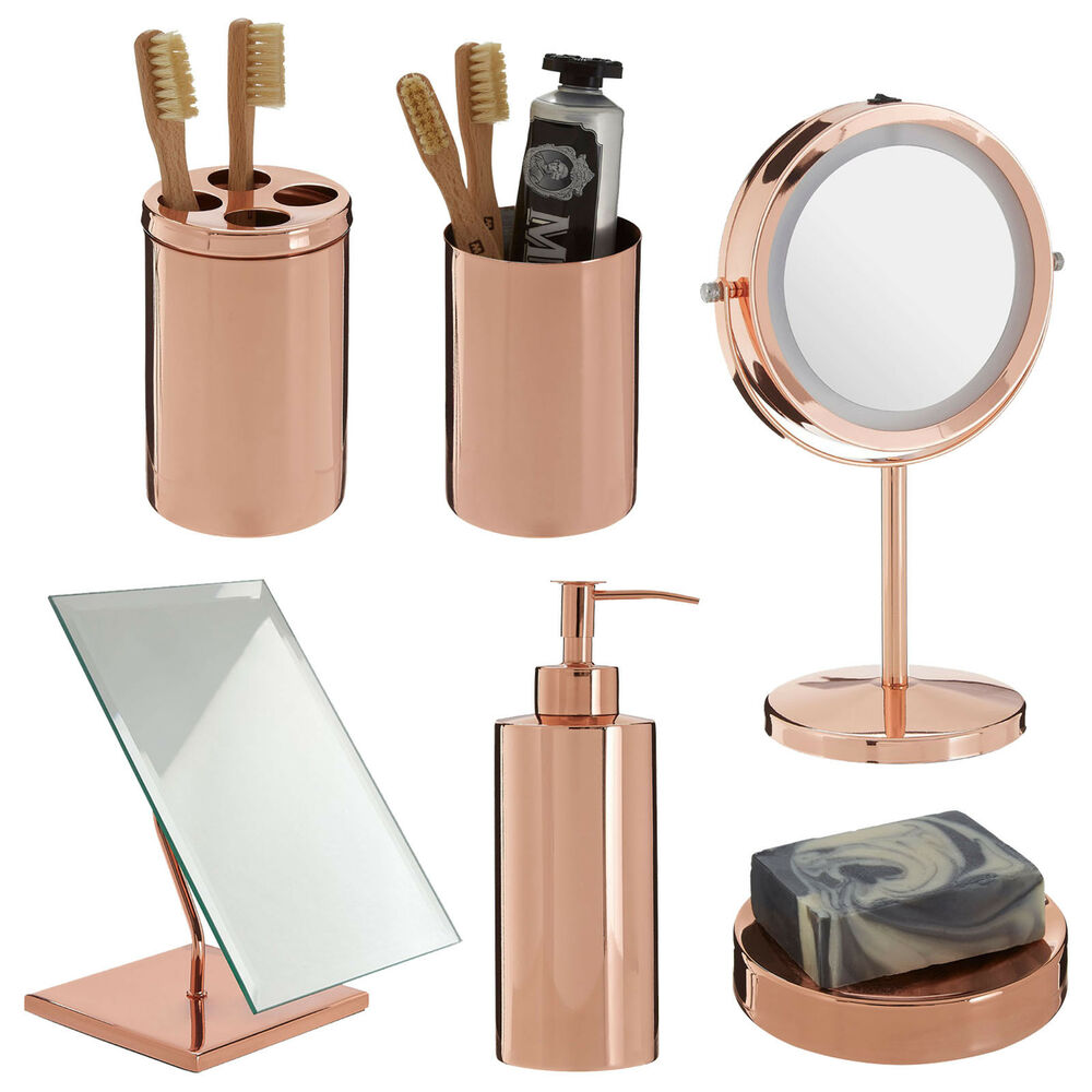 Clara Rose Gold Bathroom Set Basin Accessories LED Mirror
