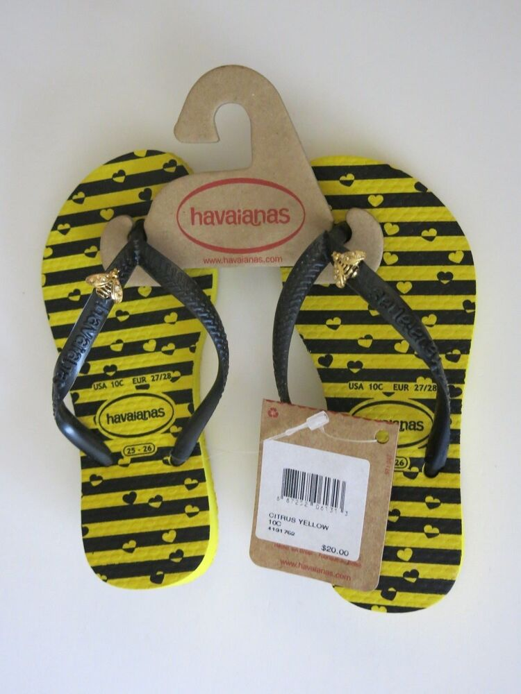 e12708e8cfb3 Details about Girl s Havaianas Size 10 10C Yellow Black Hearts Flip Flops  Shoes Bumble Bee