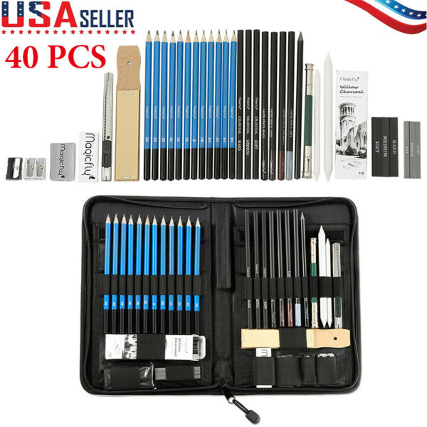 41Pcs Professional Drawing Artist Kit Set Pencils and Sketch Charcoal Art Tools