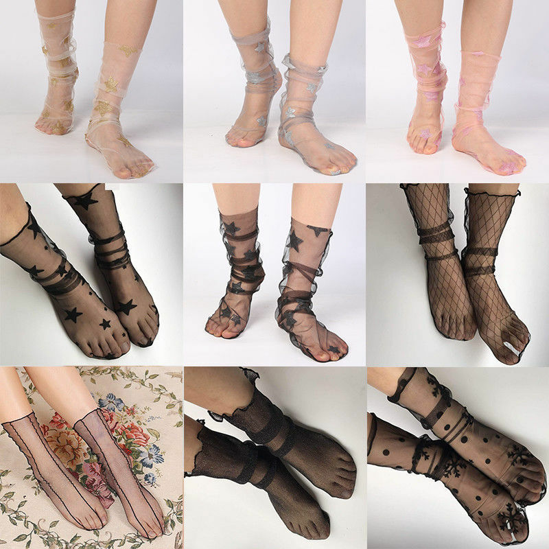 4cae3f7a2f1 Details about Women Summer Glitter Star Soft Mesh Socks Transparent Elastic  Sheer Ankle socks