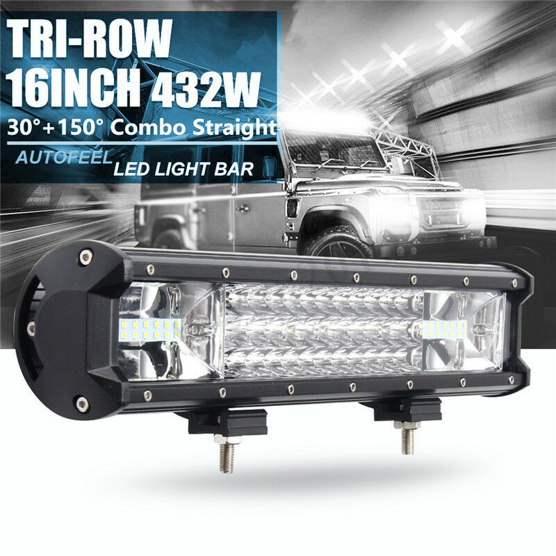 High Power 200w 20 Inch Jeep Accessories Led Light Bar For: 16 Inch 432W Tri-row Work Light Bar Spot Flood Beam