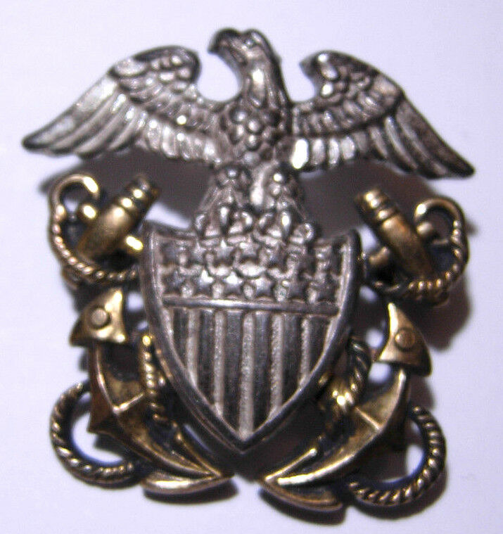 4 H Hat Pins: WW2 US Navy Officer's Small Sterling Hat Badge *AMICO
