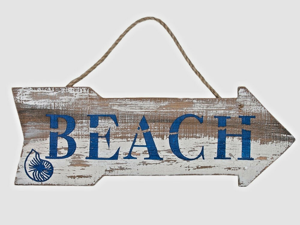 Wooden Coastal Decor: Beach Arrow Sign Distressed Weathered Nautical Wall Wood