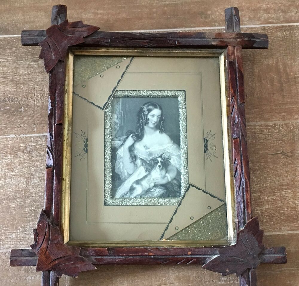 Tramp Art Frame with original picture vintage wooden leaf woman with ...
