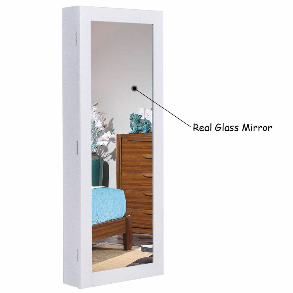 White Wall Mounted Mirror Jewelry Cabinet Armoire Box Ring ...