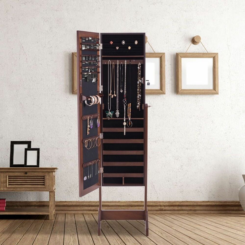 Wood Free Standing Full Length Mirror Armoire Storage