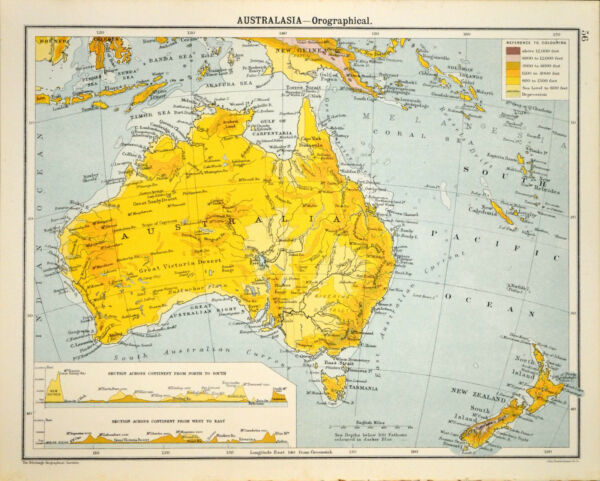 AUSTRALASIA - OROGRAPHICAL 1905 Robertson & Bartholomew ANTIQUE MAP