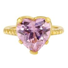 18k Yellow Gold Plated Pink Heart Crystal Baby Girls Ring
