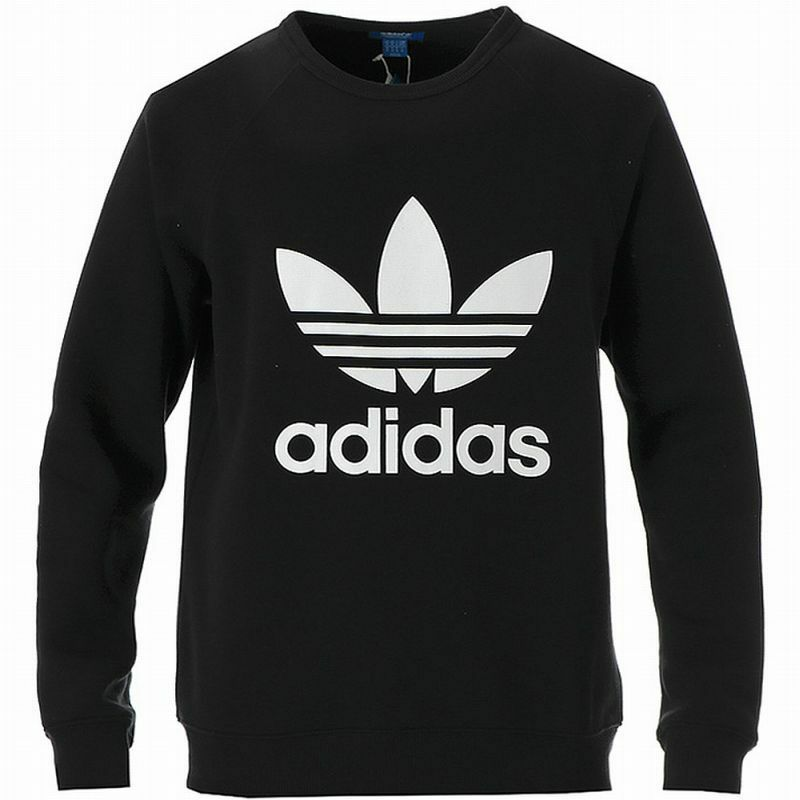 c71f7a5fc73b Details about ADIDAS TREFOIL CREW NECK SWEATSHIRT Black-White logo sweater  jumper new