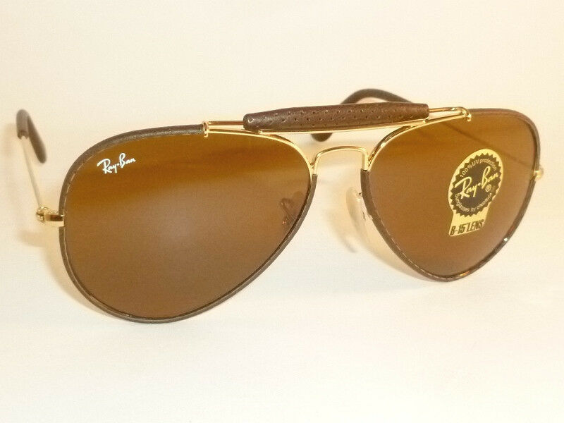 9d7db73659 Details about New RAY BAN Aviator Outdoorsman Brown Leather RB 3422Q 9041  B-15 Brown Lenses