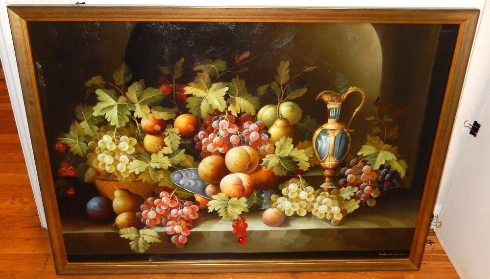 A Goodmin Large Oil Canvas Still Life Fruit Painting Ebay