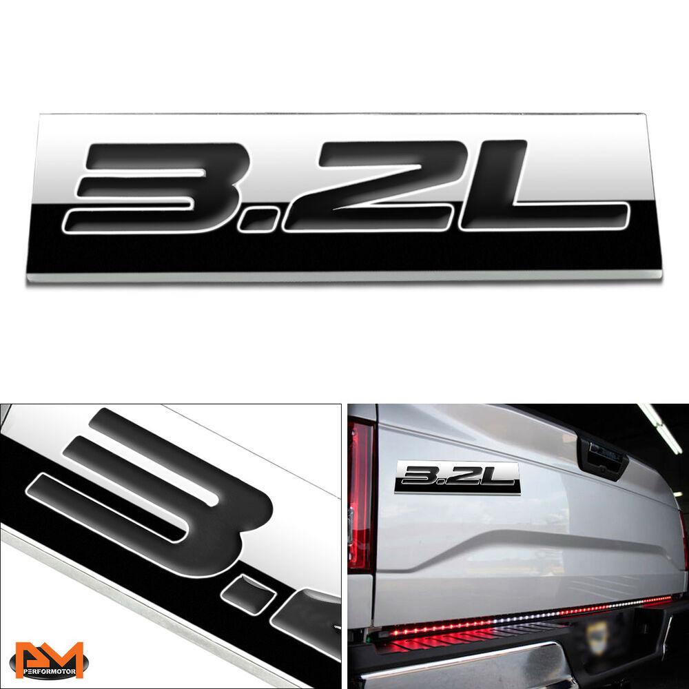 Details about 3 2l polished metal 3d decal black emblem exterior sticker for ford jeep volvo