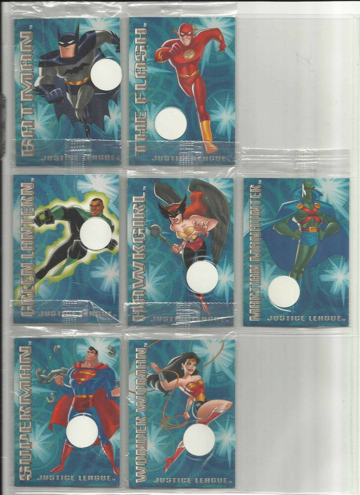 Details About 2004 Justice League SEALED Complete Set Of 7 POSTOPIA Promo Cards 1 To