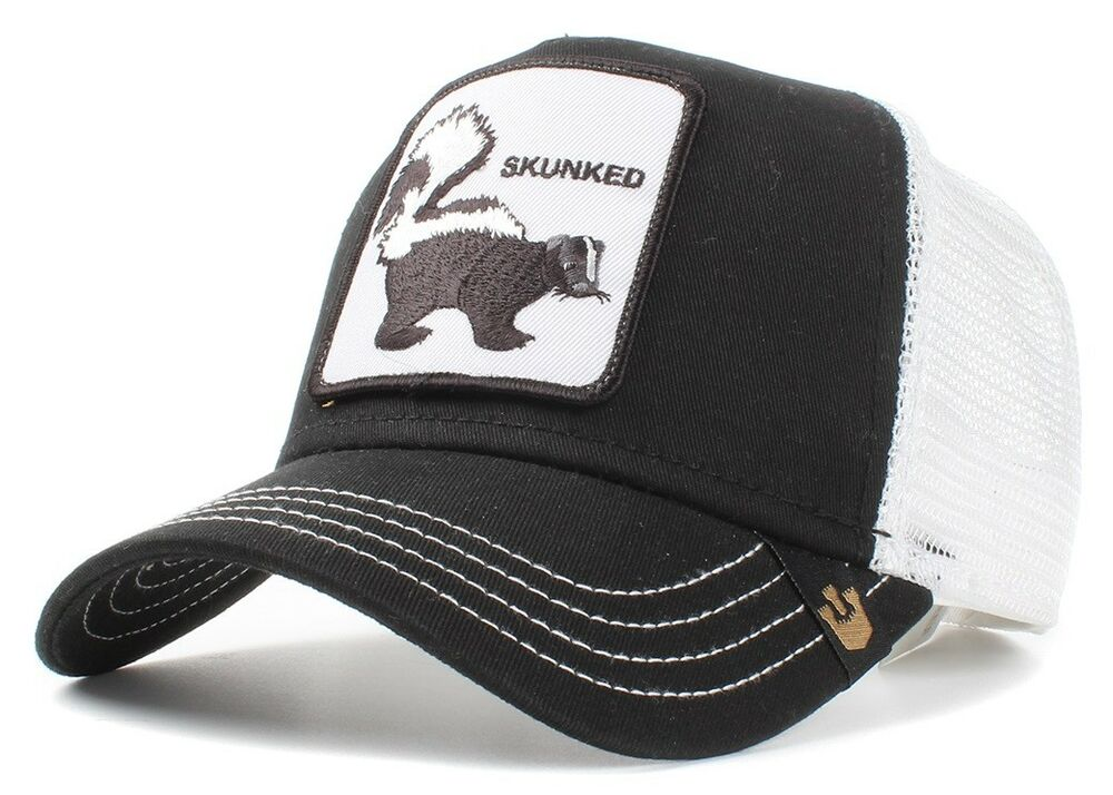 b86994b1b4ab7 New Goorin Bros. Skunked Animal Farm Trucker Snapback Hat Cap Black Skunk  Weed