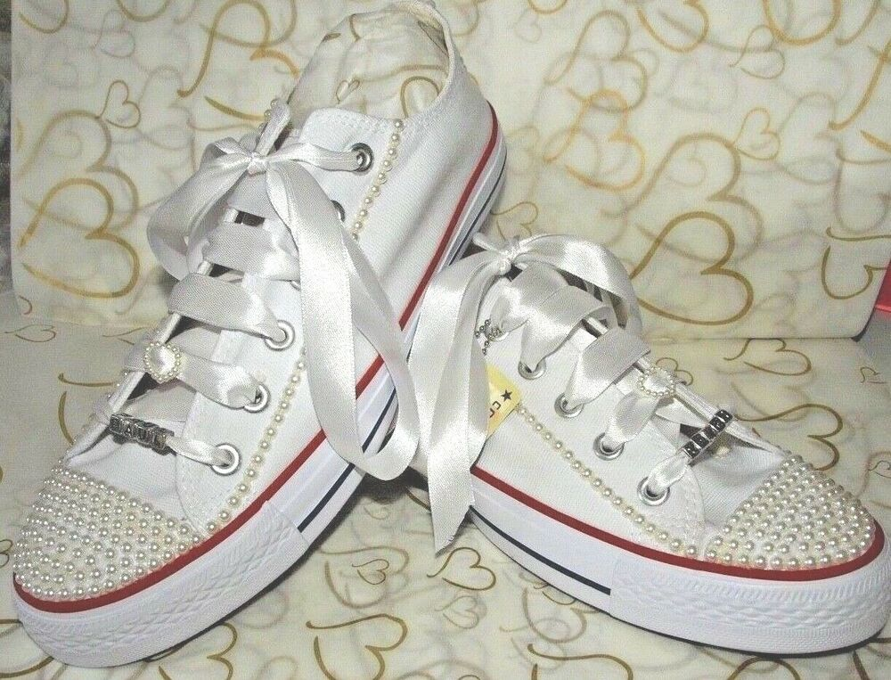 Details about Wedding Bridal Converse Trainers Bling Pearl Custom  Personalised UK 3.5 to 8.5! b5ee43e61e