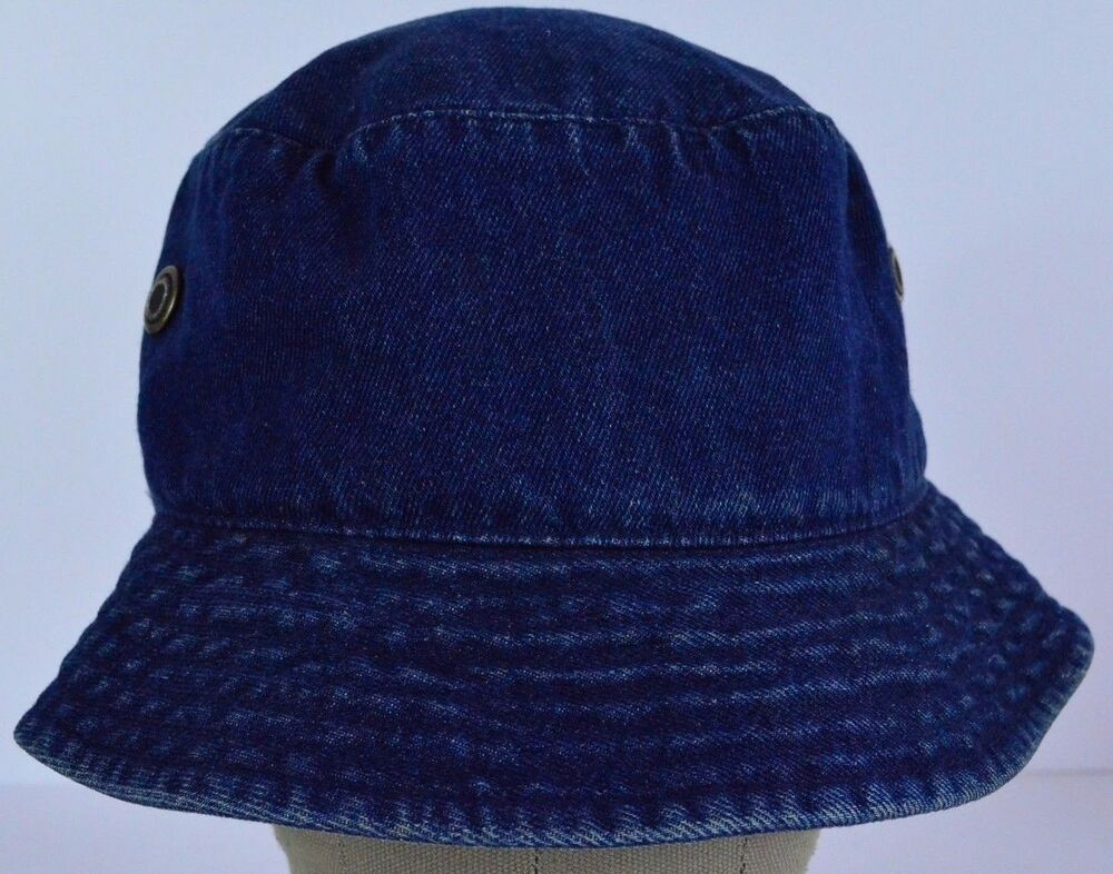 835a4f35 ... Blue Bucket Hat: Blue Denim With Air/ Breathe Buttons Bucket Hat Cap  Fitted